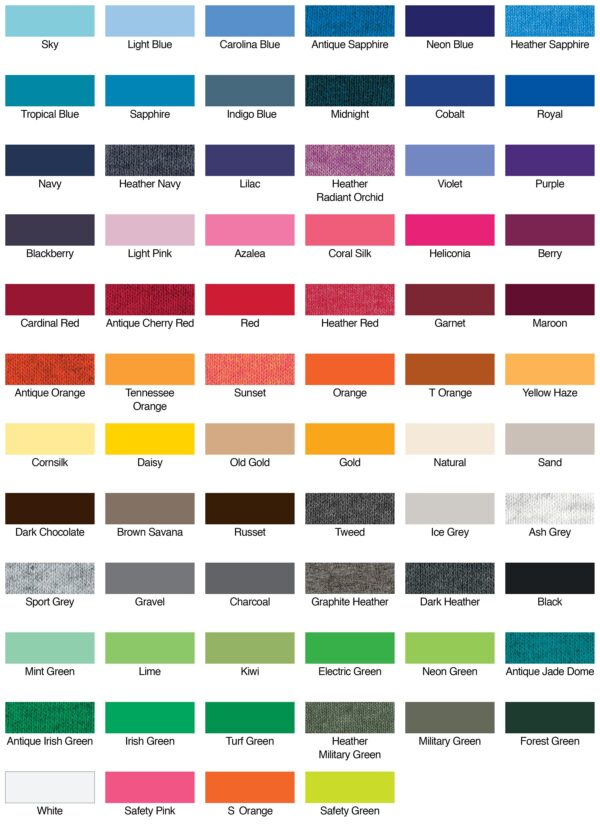 Gildan G500 Custom Shirt Colors