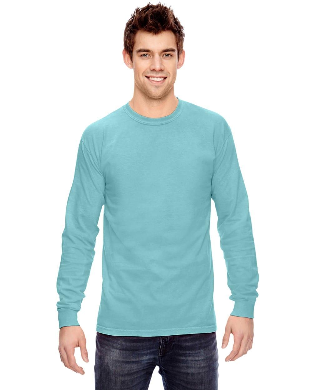 3f34c6fd Comfort Colors C6014 heavyweight custom long sleeve shirt bulk custom  shirts chalky mint