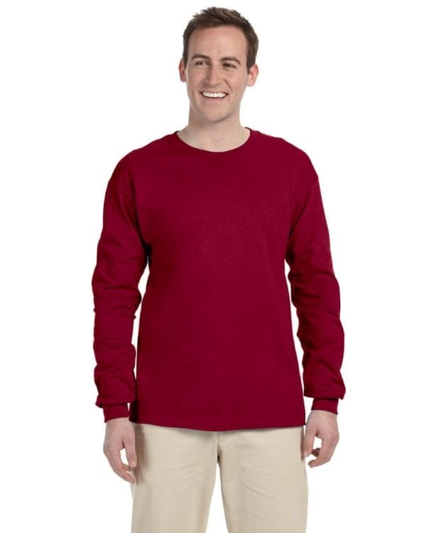 Gildan G240 Ultra Cotton Custom Long Sleeve Shirt Bulk Custom Shirts cardinal red