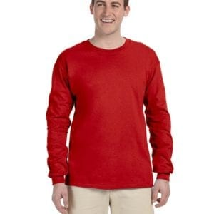 Gildan G240 Ultra Cotton Wholesale Custom Long Sleeve Shirt Bulk Custom Shirts Red