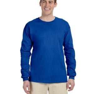 Gildan G240 Ultra Cotton Wholesale Custom Long Sleeve Shirt Bulk Custom Shirts Royal
