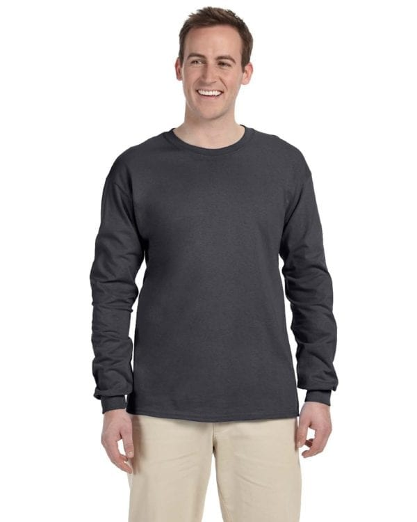 Gildan G240 Ultra Cotton Wholesale Custom Long Sleeve Shirt Bulk Custom Shirts charcoal