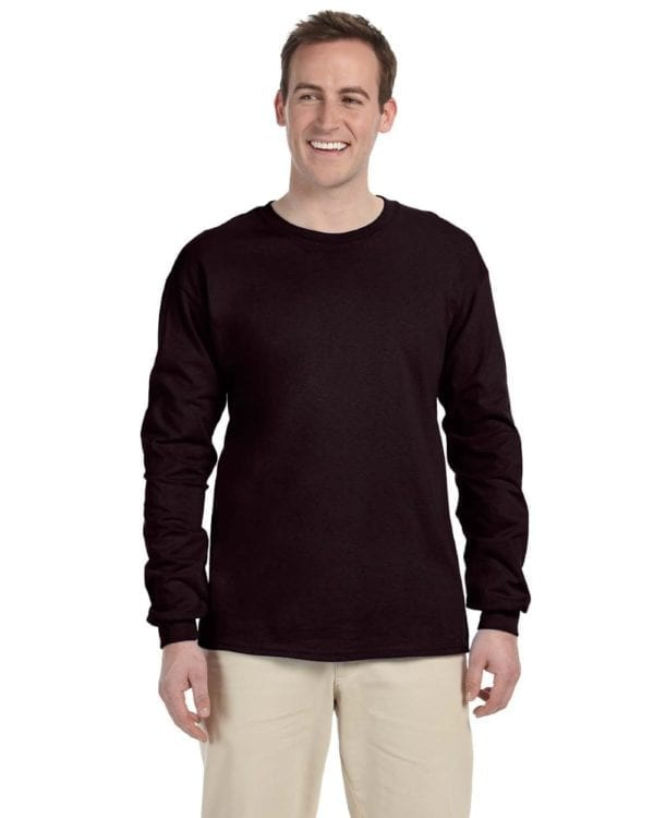Gildan G240 Ultra Cotton Wholesale Custom Long Sleeve Shirt Bulk Custom Shirts dark chocolate