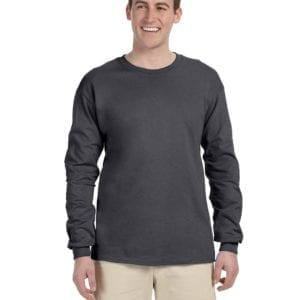 Gildan G240 Ultra Cotton Wholesale Custom Long Sleeve Shirt Bulk Custom Shirts dark heather