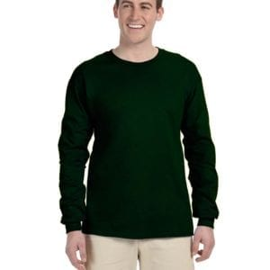 Gildan G240 Ultra Cotton Wholesale Custom Long Sleeve Shirt Bulk Custom Shirts forest green