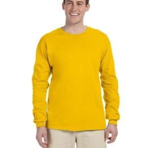 Gildan G240 Ultra Cotton Wholesale Custom Long Sleeve Shirt Bulk Custom Shirts gold