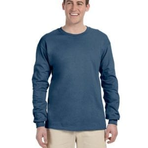 Gildan G240 Ultra Cotton Wholesale Custom Long Sleeve Shirt Bulk Custom Shirts indigo blue