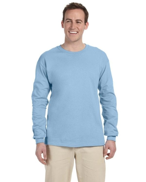 Gildan G240 Ultra Cotton Wholesale Custom Long Sleeve Shirt Bulk Custom Shirts light blue