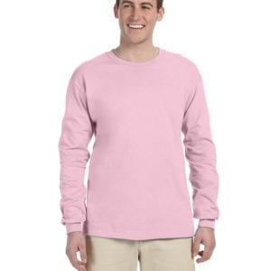 Gildan G240 Ultra Cotton Wholesale Custom Long Sleeve Shirt Bulk Custom Shirts light pink