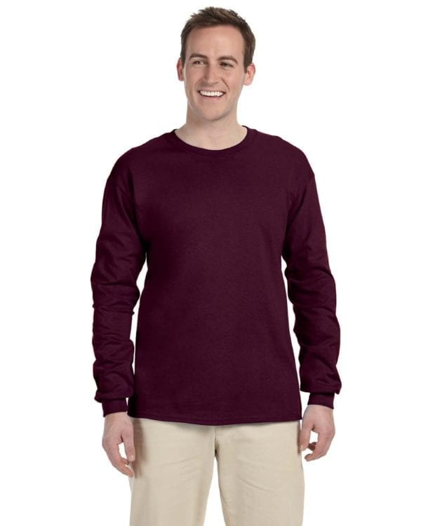 Gildan G240 Ultra Cotton Wholesale Custom Long Sleeve Shirt Bulk Custom Shirts maroon