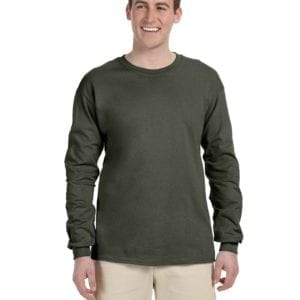 Gildan G240 Ultra Cotton Wholesale Custom Long Sleeve Shirt Bulk Custom Shirts military green