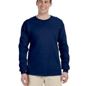 Gildan G240 Ultra Cotton Wholesale Custom Long Sleeve Shirt Bulk Custom Shirts navy