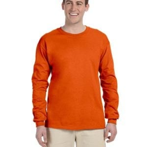 Gildan G240 Ultra Cotton Wholesale Custom Long Sleeve Shirt Bulk Custom Shirts orange
