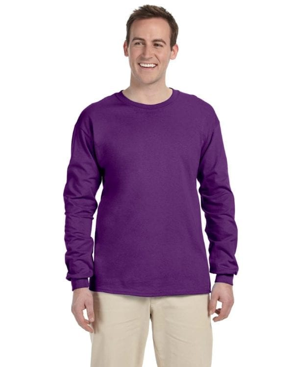 Gildan G240 Ultra Cotton Wholesale Custom Long Sleeve Shirt Bulk Custom Shirts purple