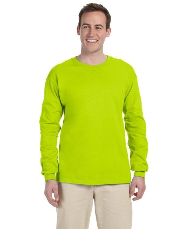 Gildan G240 Ultra Cotton Wholesale Custom Long Sleeve Shirt Bulk Custom Shirts safety green