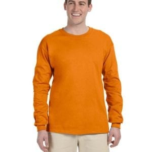 Gildan G240 Ultra Cotton Wholesale Custom Long Sleeve Shirt Bulk Custom Shirts safety orange