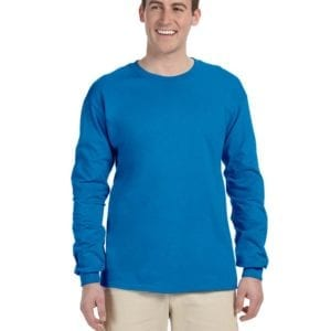 Gildan G240 Ultra Cotton Wholesale Custom Long Sleeve Shirt Bulk Custom Shirts sapphire