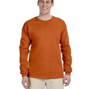 Gildan G240 Ultra Cotton Wholesale Custom Long Sleeve Shirt Bulk Custom Shirts texas orange