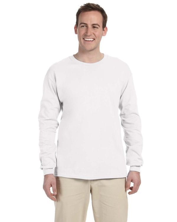 Gildan G240 Ultra Cotton Wholesale Custom Long Sleeve Shirt Bulk Custom Shirts white