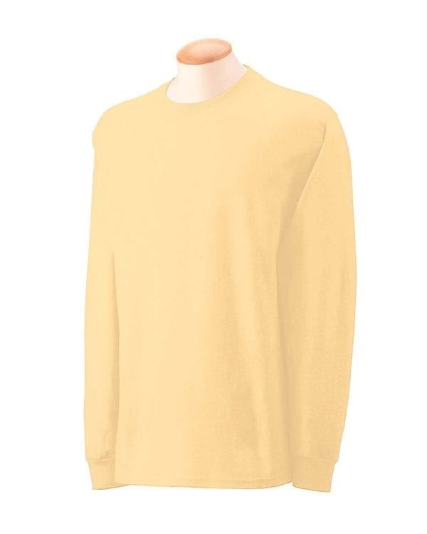 Gildan G240 Ultra Cotton Wholesale Custom Long Sleeve Shirt Bulk Custom Shirts yellow haze