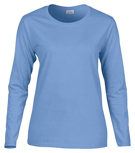 Gildan G540 Ladies' Cotton Custom Long Sleeve Shirt at bulk custom shirts carolina blue