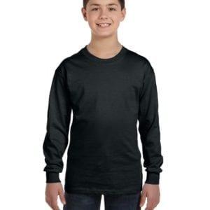 Gildan G540B Youth Cotton Custom Long Sleeve Shirt at bulk custom shirts black