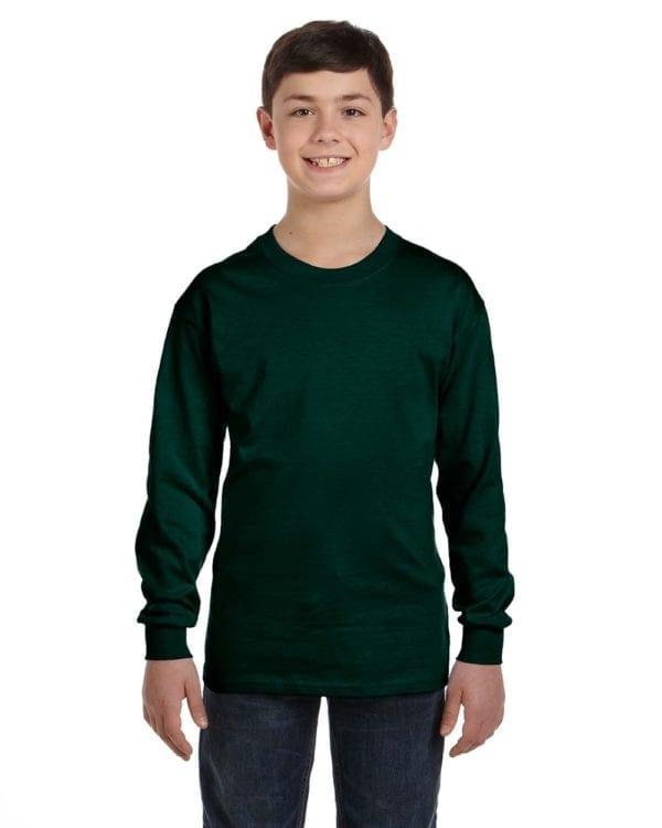 Gildan G540B Youth Cotton Custom Long Sleeve Shirt at bulk custom shirts forest green