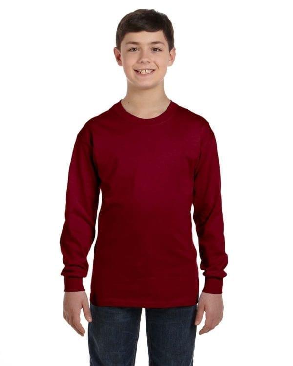 Gildan G540B Youth Cotton Custom Long Sleeve Shirt at bulk custom shirts garnet