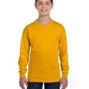 Gildan G540B Youth Cotton Custom Long Sleeve Shirt at bulk custom shirts gold