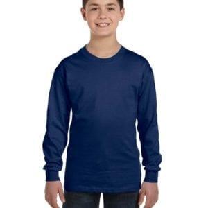 Gildan G540B Youth Cotton Custom Long Sleeve Shirt at bulk custom shirts navy