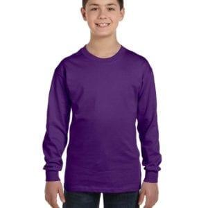 Gildan G540B Youth Cotton Custom Long Sleeve Shirt at bulk custom shirts purple