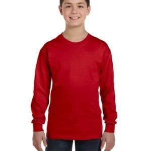 Gildan G540B Youth Cotton Custom Long Sleeve Shirt at bulk custom shirts red