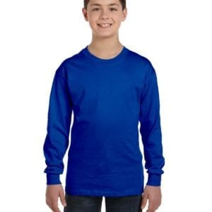 Gildan G540B Youth Cotton Custom Long Sleeve Shirt at bulk custom shirts royal