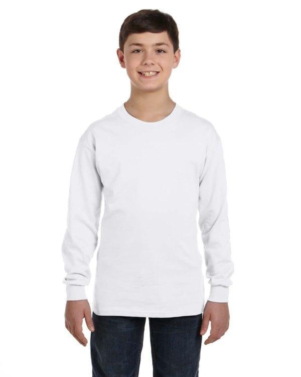 Gildan G540B Youth Cotton Custom Long Sleeve Shirt at bulk custom shirts white