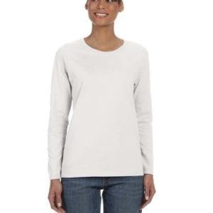 Gildan G540L Ladies' Cotton Custom Long Sleeve Shirt at bulk custom shirts ash grey