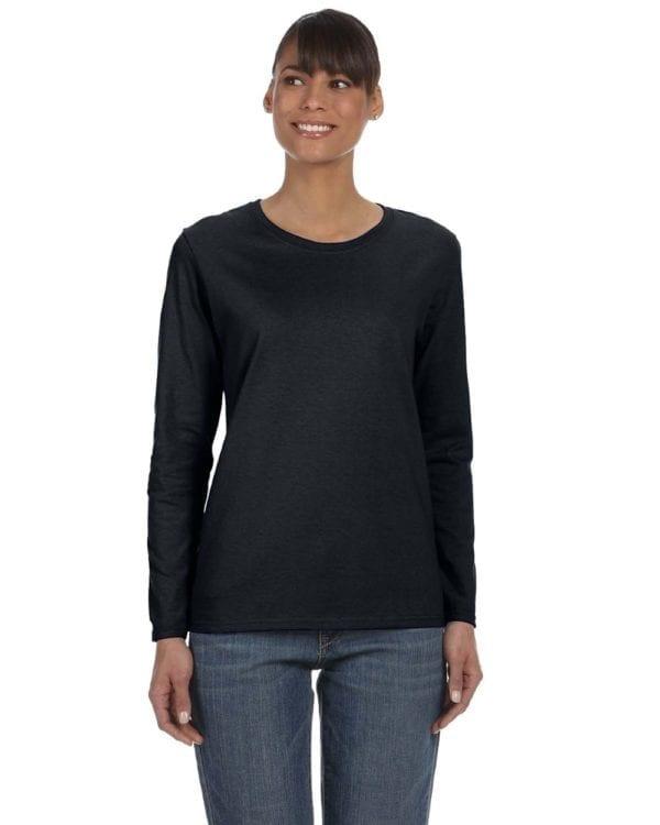Gildan G540L Ladies' Cotton Custom Long Sleeve Shirt at bulk custom shirts black