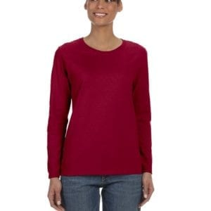 Gildan G540L Ladies' Cotton Custom Long Sleeve Shirt at bulk custom shirts cardinal red