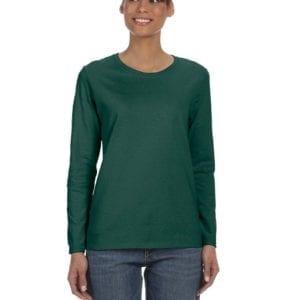 Gildan G540L Ladies' Cotton Custom Long Sleeve Shirt at bulk custom shirts forest green