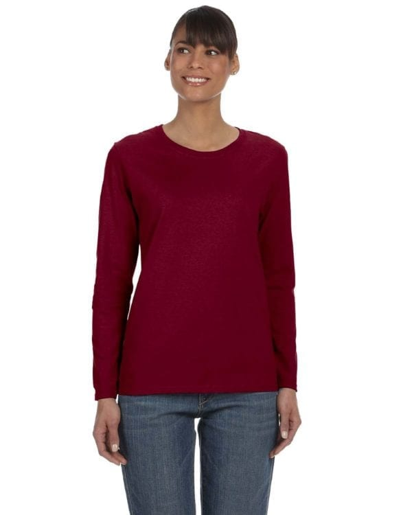 Gildan G540L Ladies' Cotton Custom Long Sleeve Shirt at bulk custom shirts garnet