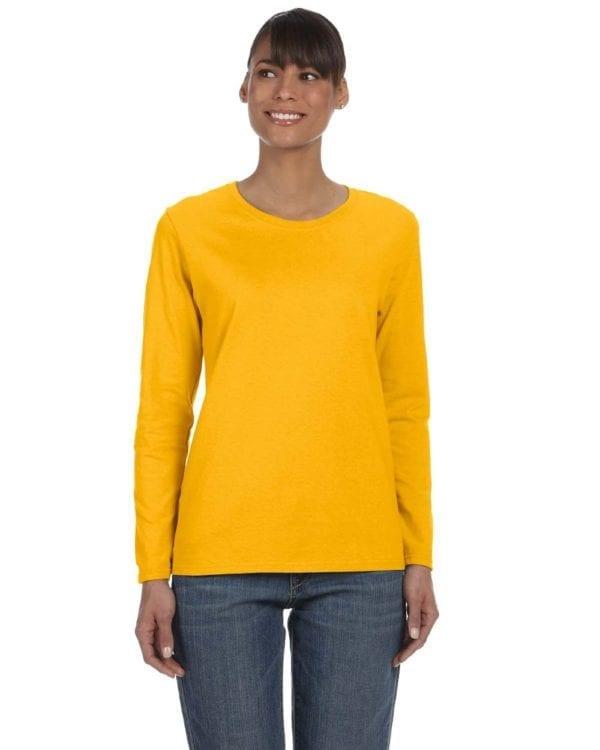 Gildan G540L Ladies' Cotton Custom Long Sleeve Shirt at bulk custom shirts gold