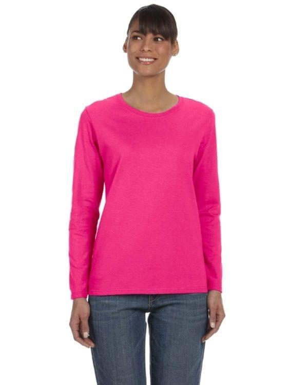 Gildan G540L Ladies' Cotton Custom Long Sleeve Shirt at bulk custom shirts heliconia