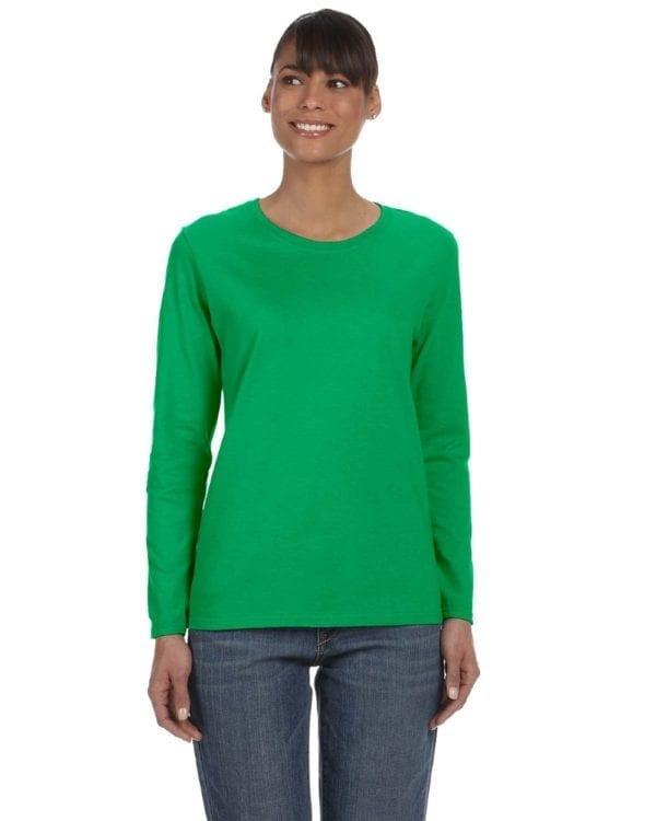 Gildan G540L Ladies' Cotton Custom Long Sleeve Shirt at bulk custom shirts irish green