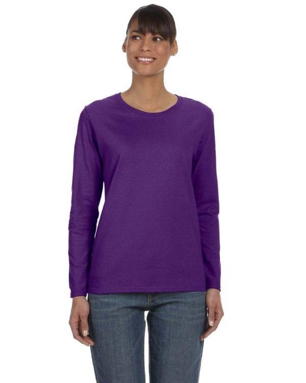 Gildan G540L Ladies' Cotton Custom Long Sleeve Shirt at bulk custom shirts purple