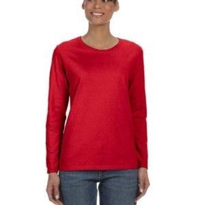Gildan G540L Ladies' Cotton Custom Long Sleeve Shirt at bulk custom shirts red