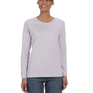 Gildan G540L Ladies' Cotton Custom Long Sleeve Shirt at bulk custom shirts sport grey