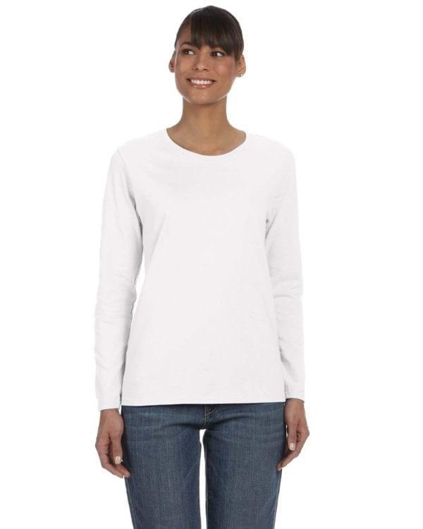 Gildan G540L Ladies' Cotton Custom Long Sleeve Shirt at bulk custom shirts white