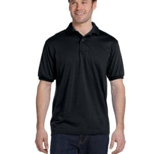 Hanes 054 50-50 poly-cotton budget custom polo bulk custom shirts black
