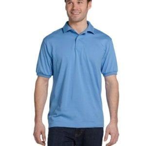 Hanes 054 50-50 poly-cotton budget custom polo bulk custom shirts carolina blue