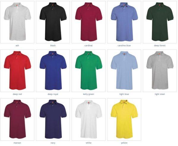 Hanes 054 50-50 poly-cotton budget custom polo bulk custom shirts colors