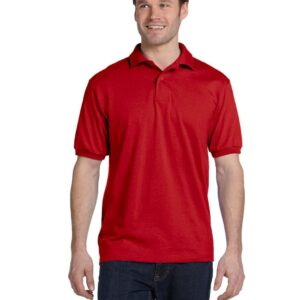Hanes 054 50-50 poly-cotton budget custom polo bulk custom shirts deep red